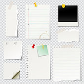 Vector illustrated blank notes and papers