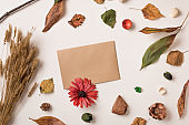 Autumn background with craft rustic paper