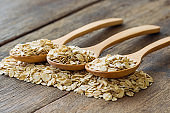 Oat flakes or oatmeal in wooden spoon put on rustic wood table. Rolled oat is healthy food for breakfast. Natural organic food concept for background or wallpaper with copy space in vintage tones.