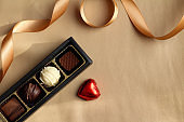 Image of chocolate and gold ribbon Valentine