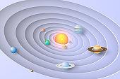 Paper art of Solar system background vector,illustration