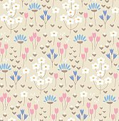 Seamless pattern with cute doodle flowers