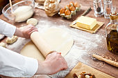 Bread Making Dough With Pin Knead Pastry Bakery Kitchen Man Cooking Process Concept