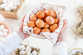 Male hands holding raw eggs in basket, closeup