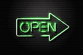 Vector realistic isolated neon sign Open lettering for decoration and covering on the wall background.