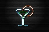 Vector realistic isolated neon sign of cocktail for decoration and covering on the wall background. Concept of night club and bar.