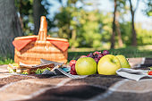 Close-up view of wicker picnic basket and fresh tasty fruits on plaid in park