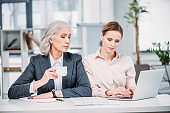 two businesswomen with laptop discussing business project on meeting in office