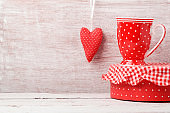 Valentine's day background with coffee cup and heart shape
