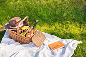Close-up view of picnic basket with fruits and wine, hat and notebook with pencil on grass