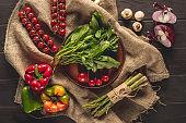fresh vegetables on sacking