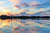 Beautiful colored after sunset sky reflects in water.