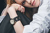girl with vintage watch on hand