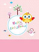 cute owl merry christmas greeting card vector
