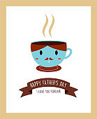 Cute Father Day Greeting Card With Coffee Vector