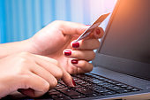 e banking concept, hand hold credit card payment shopping online with internet