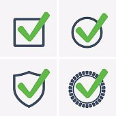 Green Tick Checkbox, set Icons vector illustration isolated