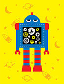 funny robot wallpaper vector