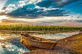 Afyon, Turkey. June 09, 2013. The sunset in Karamik Lake.
