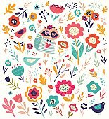 raccoon and flowers pattern