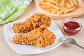 Crispy fried chicken and french fries