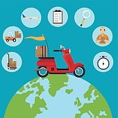 delivery concept red motorcycle globe set icons