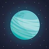 color space landscape background with view uranus planet