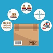 color background with circular frame of icons storage logistics and closeup of carton box closed