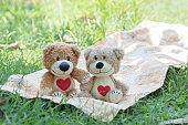 Two teddy bear picnic sitting on fabric.