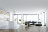White living room interior with a bar