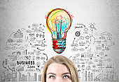 Blond woman s head and business idea