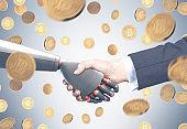 Man and robot shaking hands, bitcoin rain