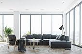 White living room interior with a gray sofa