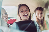 Young female friends having fun on road trip