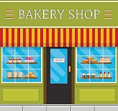 Bakery front or facade in flat style. Bake shop with window display vector illustration.