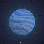 color space landscape background with view neptune planet