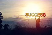 silhouette of women show success word