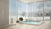 Scandinavian bathroom, white minimalistic interior design, big windows with winter landscape, hotel, spa, resort