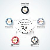 business concept timeline. Infograph template, realistic paper 5 steps infographic, vector banner can be used for workflow layout, diagram,presentation, education or any number option