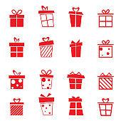 gift box set flat  icon