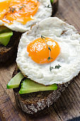 Healthy breakfast. Sandwich with rye bread, avocado and fried eggs