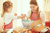 Mother and Daughter Making Dough