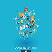 Construction integrated 3d web icons. Digital network isometric concept