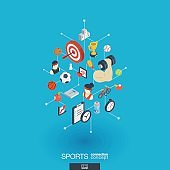 Sport integrated 3d web icons. Digital network isometric concept.