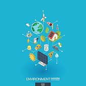Environmental integrated 3d web icons. Digital network isometric concept.