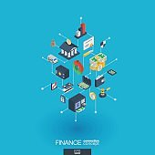 Finance integrated 3d web icons. Digital network isometric concept.