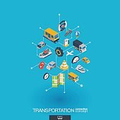 Transportation integrated 3d web icons. Digital network isometric concept.