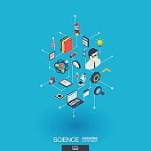Science integrated 3d web icons. Digital network isometric concept.