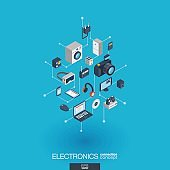 Electronics integrated 3d web icons. Digital network isometric concept.