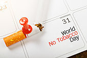 Push pins marked date Quit Smoking
